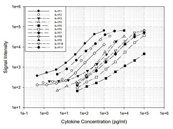 Human IL-1 Family Cytokine Antibody Array (11 targets)- Quantitative (ab197447) Standard Curve
