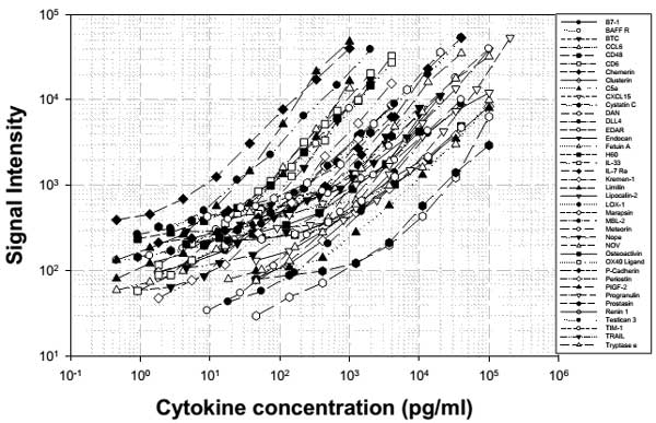Mouse Cytokine Antibody Array D - Quantitative (40 targets) (ab197471) - Standard curve