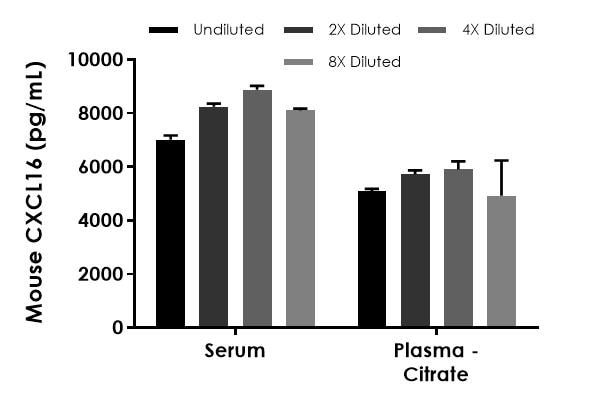 Interpolated concentrations of native CXCL16 in mouse serum and plasma (citrate) samples.