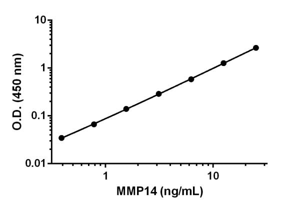 Example of MMP14 standard curve prepared in Sample Diluent NS.