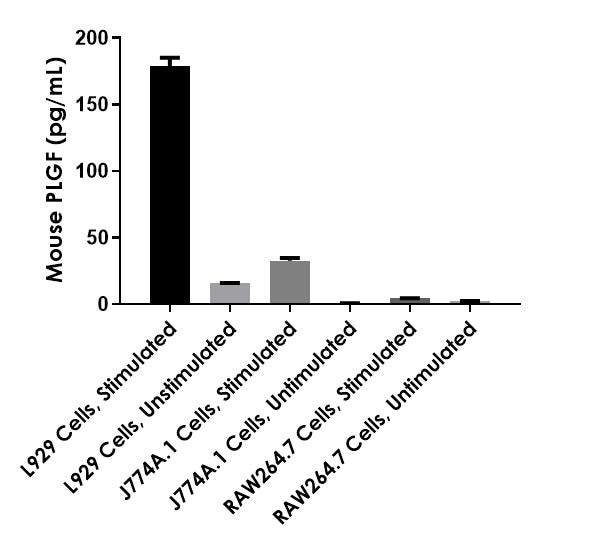 PLGF Mouse expression is shown for cultured media from three Mouse cell lines.