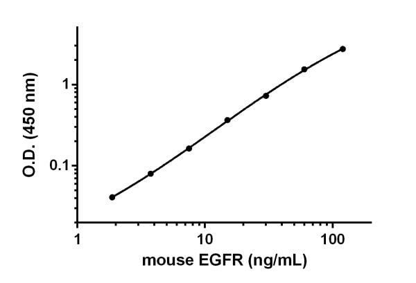 Example of EGFR standard curve prepared in Sample Diluent 25BS.