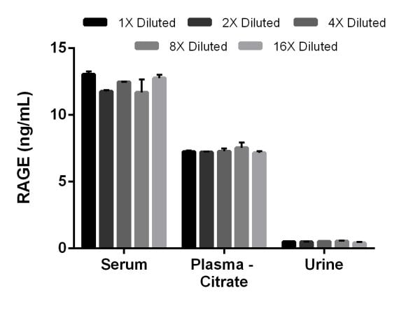 Interpolated concentrations of RAGE in rat serum, plasma (citrate) and urine samples.