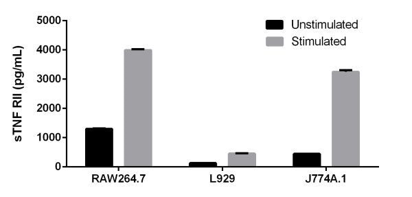 Comparison of sTNF RII in unstimulated and PMA/PHA-stimulated RAW264.7, L929, and J774A.1 Cells.