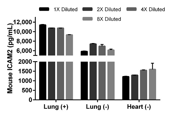 Titration of stimulated lung (5 µg/mL LPS (+)), unstimulated lung (-), and unstimulated heart (-) supernatant.