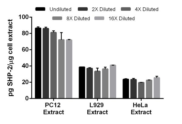 Interpolated concentrations of SHP-2 in PC12 (rat), L929 (mouse) and HeLa (human) cell extracts.