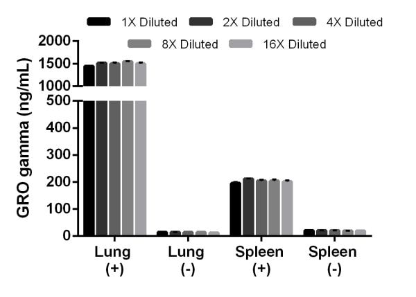Titration of stimulated lung (5 µg/mL LPS, 6 days (+)), unstimulated lung (-), and stimulated spleen (5 µg/mL LPS, 6 days (+)), and unstimulated spleen (-) supernatant.
