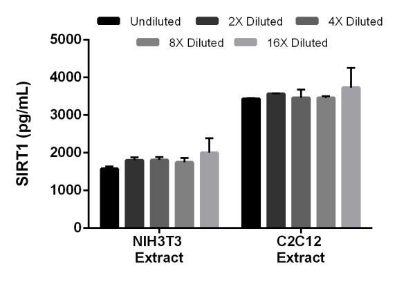 Interpolated concentrations of SIRT1 in mouse NIH3T3 extract and C2C12 extract based on a 1 mg/mL extract load.