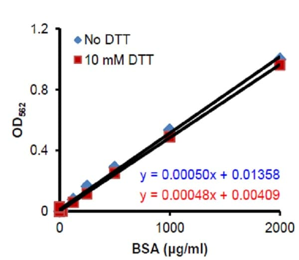 Standard Curves for BSA containing blocking reagent in the presence and absence of 10 mM DTT