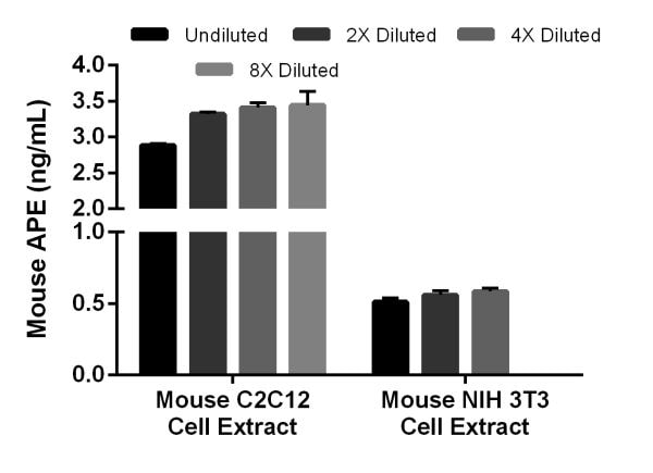 Interpolated concentrations of native APE in mouse C2C12 cell extract and NIH 3T3 cell extract based on 150 µg/mL and 3.13 µg/mL extract loads, respectively.
