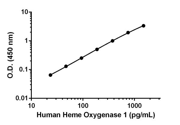 Example of human Heme Oxygenase 1 standard curve in Sample Diluent NS.