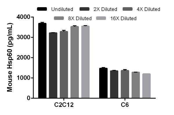 Interpolated concentrations of native HSP60 in mouse C2C12 cell extract sample and rat C6 cell extract sample based on a 1.5 µg/mL extract load