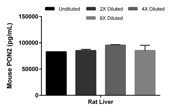 Rat liver extract was diluted 2-fold in 1x Cell Extraction Buffer PTR and assayed for cross-reactivity.