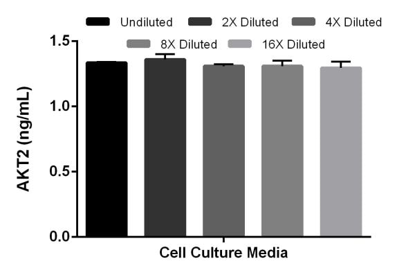 Interpolated concentrations of spiked AKT2 in cell culture media.