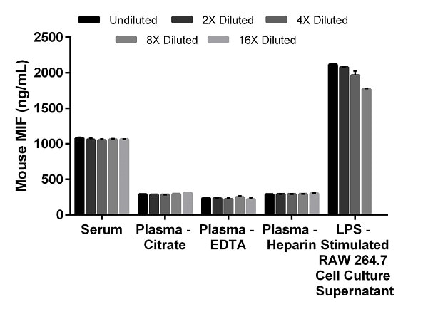 Interpolated concentrations of native MIF in mouse serum, plasma and cell culture supernatant samples