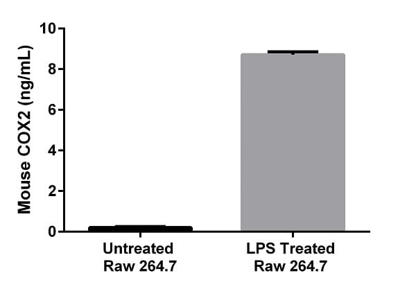 Interpolated concentrations of native mouse COX2 in an unstimulated and LPS (1 µg/mL, 6 hr) stimulated Raw 264.7 cell extract based on a 100 µg/mL extract load.