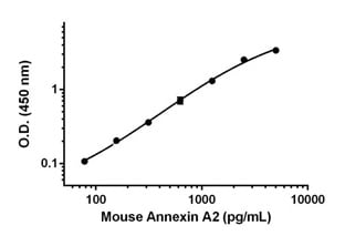 Example of mouse Annexin A2 standard curve in Sample Diluent NS.