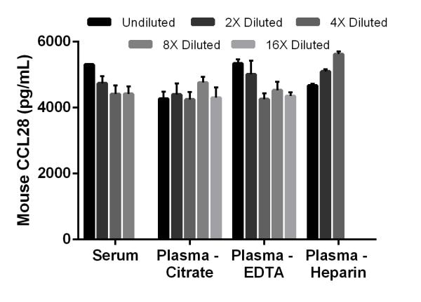 Interpolated concentrations of spiked CCL28 in mouse serum and plasma samples.