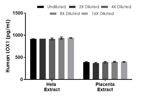 Interpolated concentrations of native LOX1 in human Hela and placenta extract based on an 80 µg/mL and 500 µg/mL extract load.