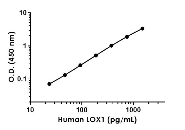 Example of human LOX1 standard curve in 1X Cell Extraction Buffer PTR.