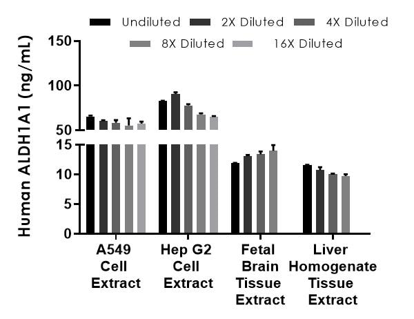 Interpolated concentrations of native ALDH1A1 in human A549, Hep G2, fetal brain, and liver homogenate extract samples.