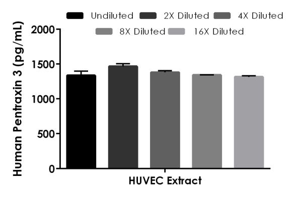 Interpolated concentrations of native Pentraxin 3 in human HUVEC Extract sample based on a 200 µg/mL extract load.
