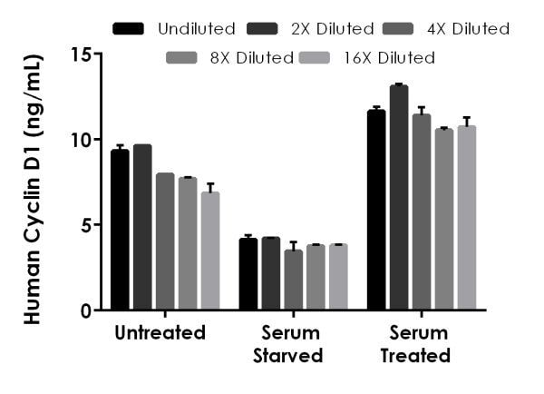 Interpolated concentrations of native Cyclin D1 in human MCF-7 cell extracts based on a 250 µg/mL extract load.