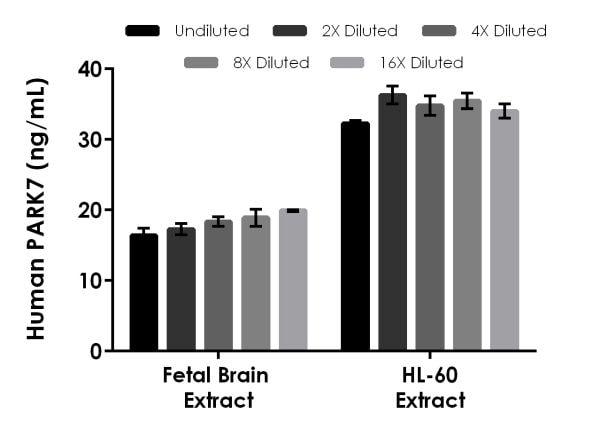 Interpolated concentrations of native PARK7 in human fetal brain extract and HL-60 extract based on a 100 µg/mL and 250 µg/mL extract loads.