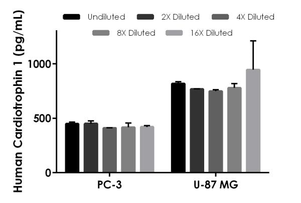 Interpolated concentrations of native Cardiotrophin 1 in PC-3 and U-87 MG cell extracts based on a 1,000 µg/mL extract load.