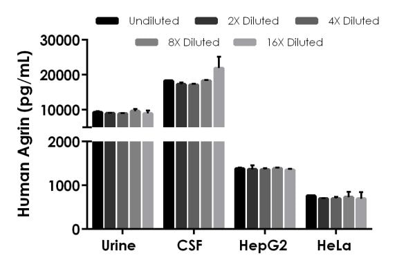Interpolated concentrations of native Agrin in human urine, cerebrospinal fluid, and cell culture supernatant samples.