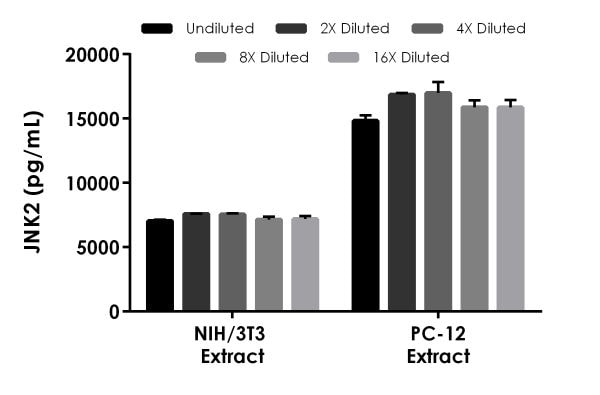 Interpolated concentrations of native JNK2 in mouse NIH/3T3 cell extract and rat PC-12 cell extract based on a 400 µg/mL extract load.
