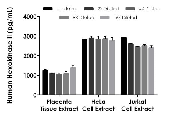 Interpolated concentrations of native Hexokinase II in human placenta, HeLa, and Jurkat extract samples based on a 50 µg/mL extract load.