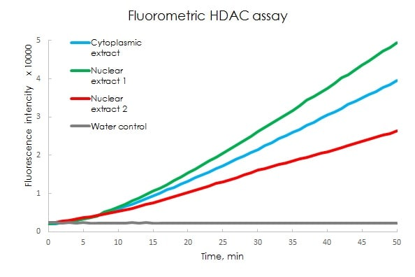 Measurement of Histone Deacetylase (HDAC) activity in HeLa cell fractions prepared using Nuclear Extract Kit ab219177.