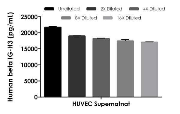 . Interpolated concentrations of native beta IG-H3 in human HUVEC supernatant.