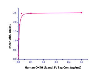 Functional Studies - Recombinant rhesus monkey CD134 / OX40L receptor protein (Active) (ab221322)