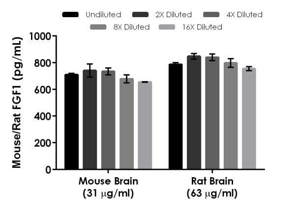 Interpolated concentrations of native mouse/rat FGF1 in mouse and rat brain tissue extract.