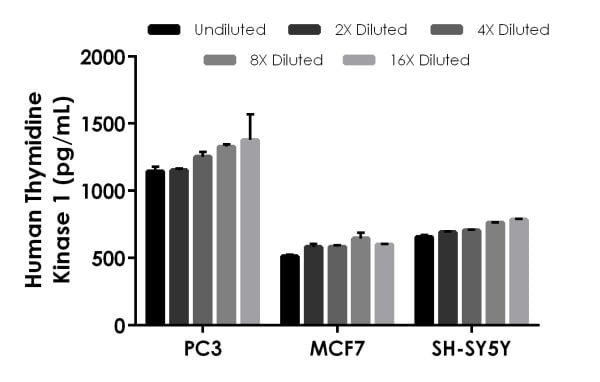 Interpolated concentrations of native Thymidine Kinase 1 in human PC3, MCF7, and SH-SY5Y cell extracts.
