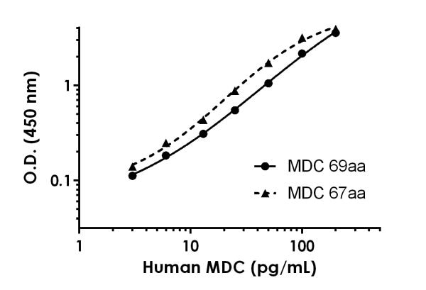Serial dilutions of recombinant human 67 amino acid long MDC