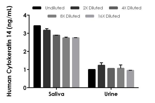 Interpolated concentrations of native Cytokeratin 14 in Human saliva and urine samples