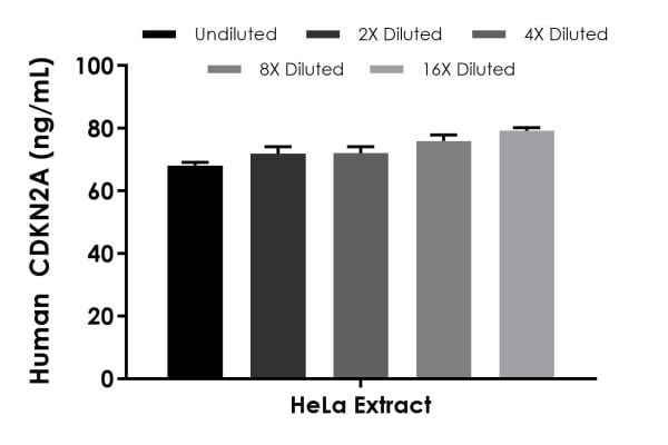 Interpolated concentrations of native CDKN2A in Human HeLa extract based on a 500 µg/mL extract load