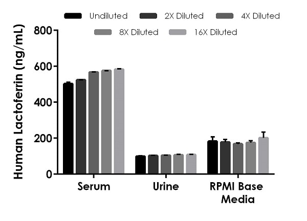 Linearity of dilution of native Lactoferrin in serum and urine and spiked Lactoferrin in media