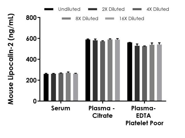 Interpolated concentrations of Lipocalin-2 in mouse serum, plasma (citrate), and platelet poor plasma (EDTA).