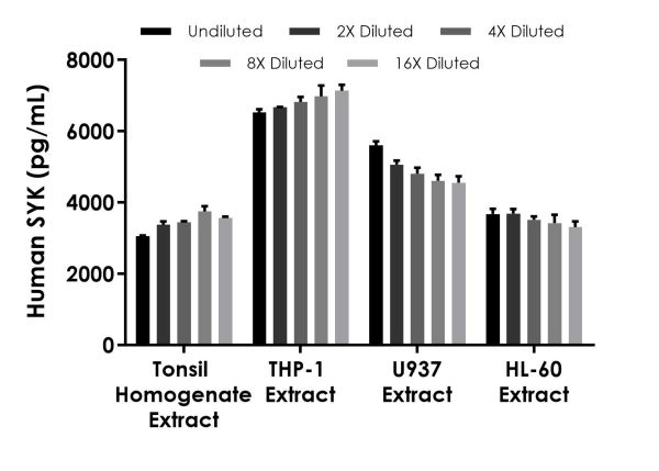 Interpolated concentrations of native SYK based on a 1,000 µg/mL extract load in Human Tonsil Homogenate Extract and on a 125 µg/mL extract load in Human THP-1, U937, and HL-60 Extracts.