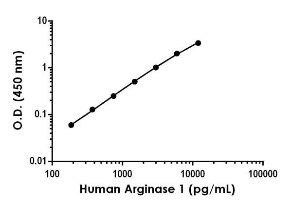 Example of human Arginase 1 standard curve in 1X Cell Extraction Buffer PTR.