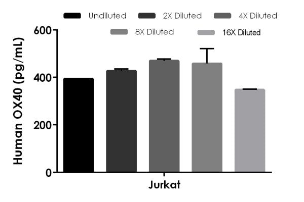 Interpolated concentrations of native OX40 in human Jurkat Cell Extract, sample based on a 4,000 µg/mL extract load