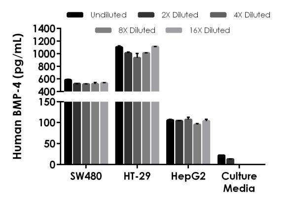 Interpolated concentrations of native BMP-4 in human cell culture supernatant samples.
