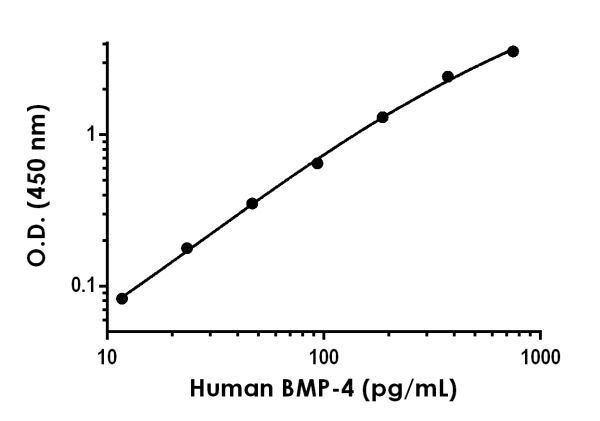 Example of human BMP-4 standard curve in Sample Diluent NS.