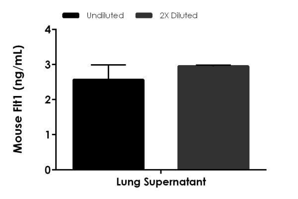 Interpolated concentrations of native Flt1 in mouse lung tissue culture supernatant samples
