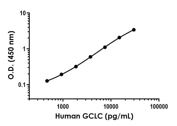 Example of human GCLC standard curve in 1X Cell Extraction Buffer PTR.