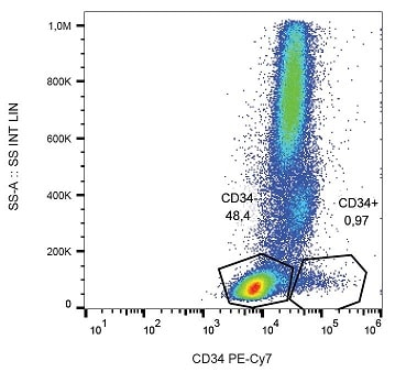 Flow Cytometry - Anti-CD34 antibody [4H11APG] (PE/Cy7 ®) (ab233636)